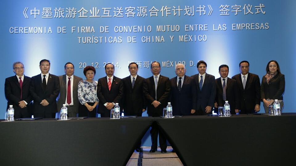 Ceremonia de firma de convenio mutuo entre las empresas turísticas de China y México.