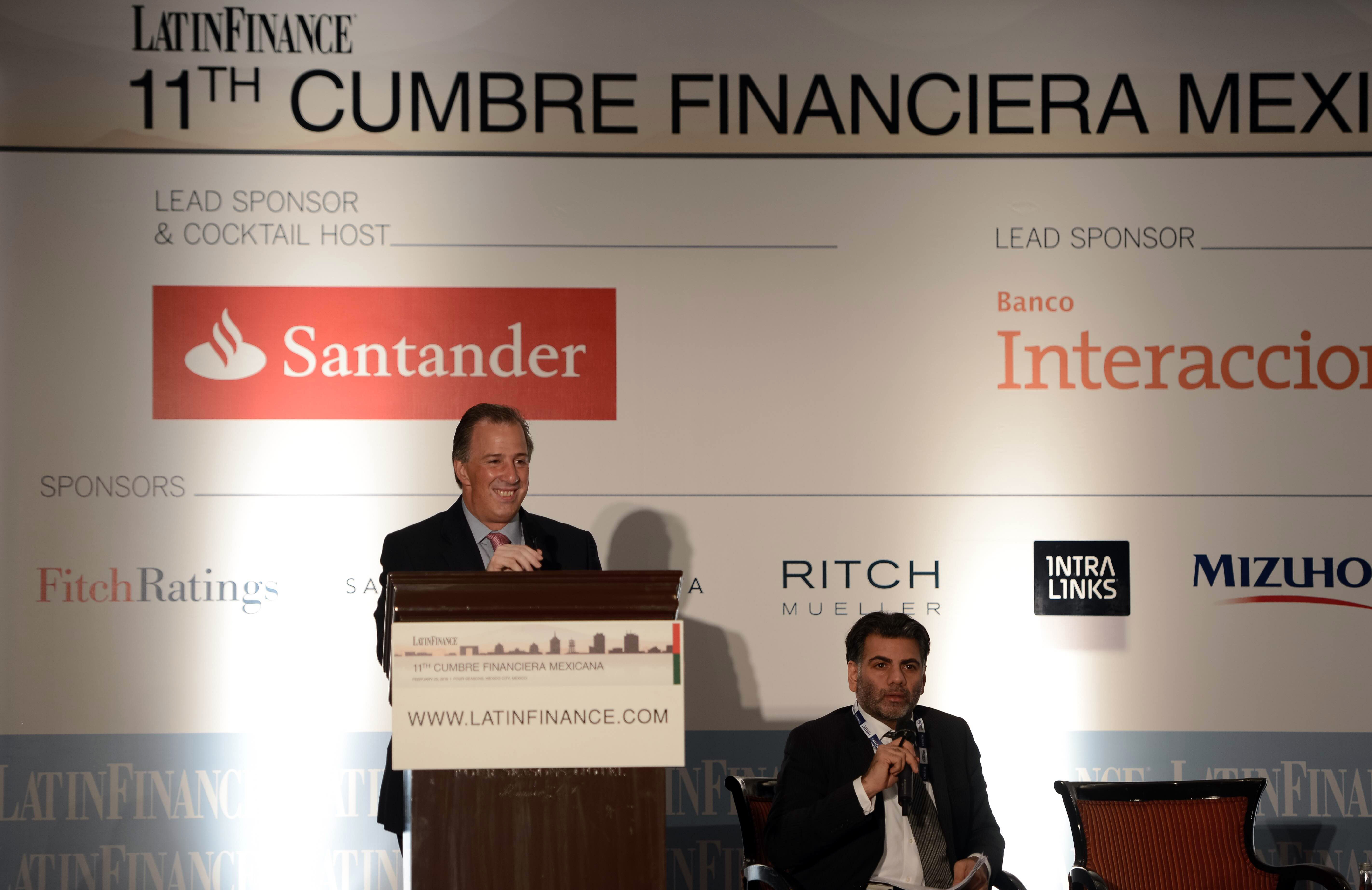 El secretario de Desarrollo Social, José Antonio Meade Kuribreña, al término de la 11ª Cumbre Financiera Mexicana