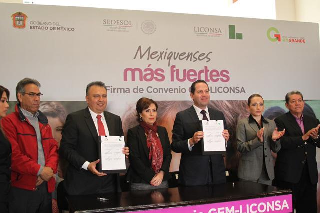 Firman titulares de la Sedesol y Liconsa convenio de coordinación en el marco de la Cruzada Nacional Contra el Hambre con el gobierno del Estado de México