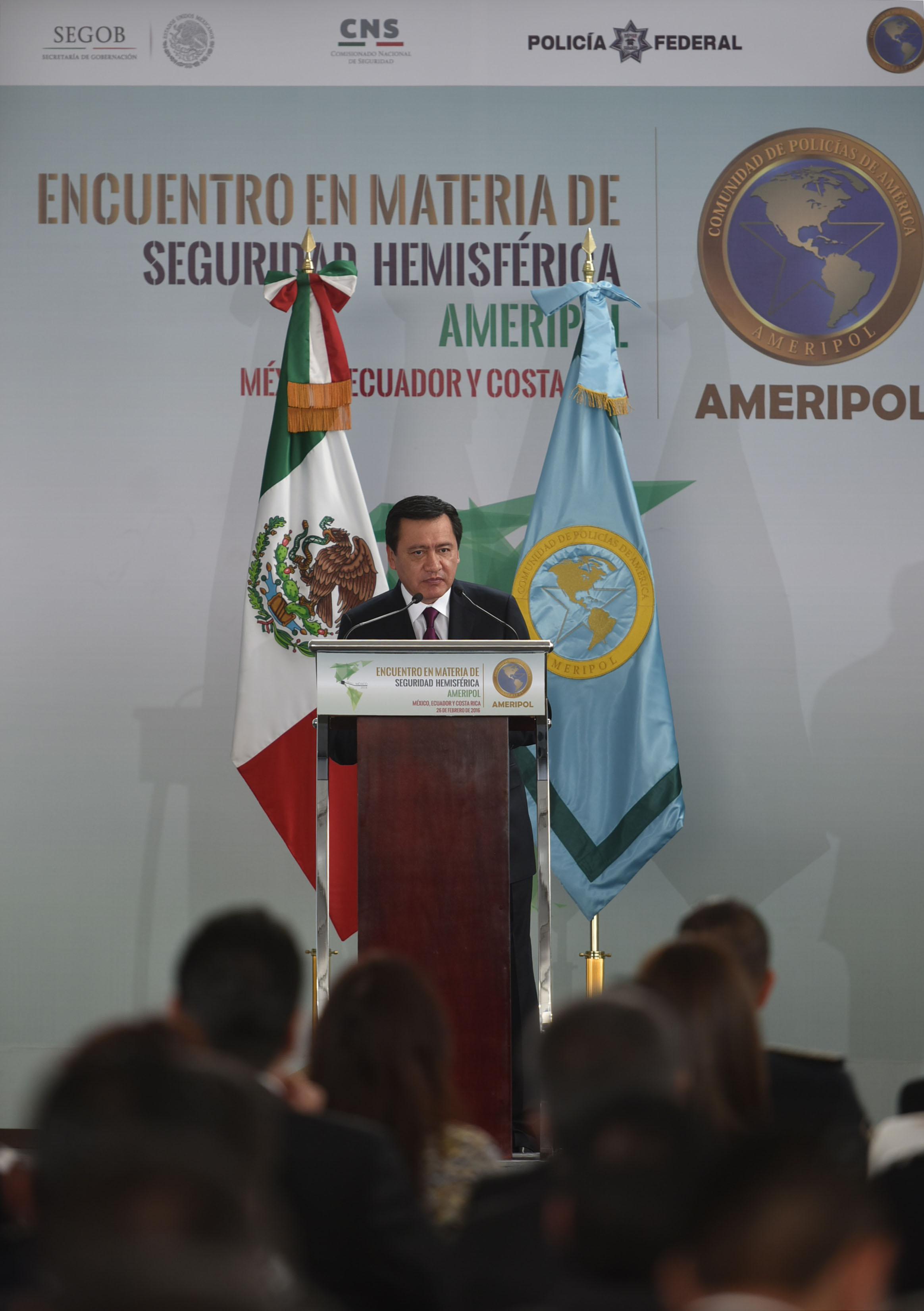 El Secretario de Gobernación, Miguel Ángel Osorio Chong, durante su participación en el Encuentro de Seguridad Hemisférica de la Comunidad de Policías de América
