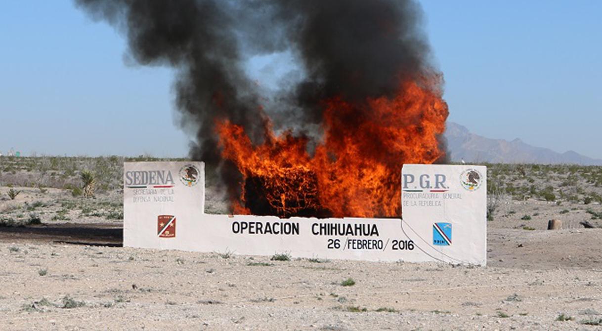 PGR incinera más de una tonelada de narcóticos en Ciudad Juárez.