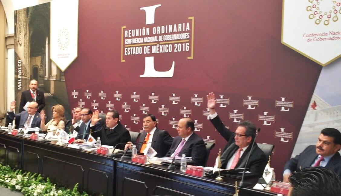 El Secretario del Trabajo y Previsión Social, Alfonso Navarrete Prida, durante su intervención en la Conferencia Nacional de Gobernadores.