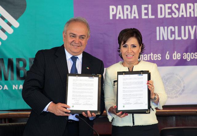 Se comprometen Rosario Robles y José Guadalupe Osuna a trabajar coordinadamente para enfrentar la pobreza extrema y la carencia alimentaria