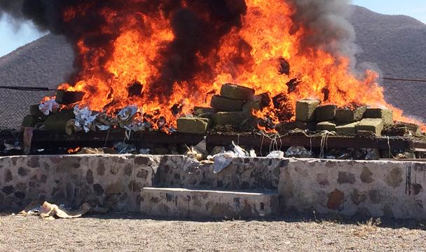 PGR incinera siete toneladas de narcóticos y mil litros de precursores químicos y sustancias químicas en Sinaloa