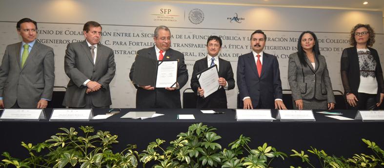 En la foto de izquierda a derecha: Benjamín Hil, Gustavo Arvizu Lara, Eduardo Roque Medina, Virgilio Andrade,Javier Vargas, Lilia Merodio Reza y Teresa Gómez del Campo.