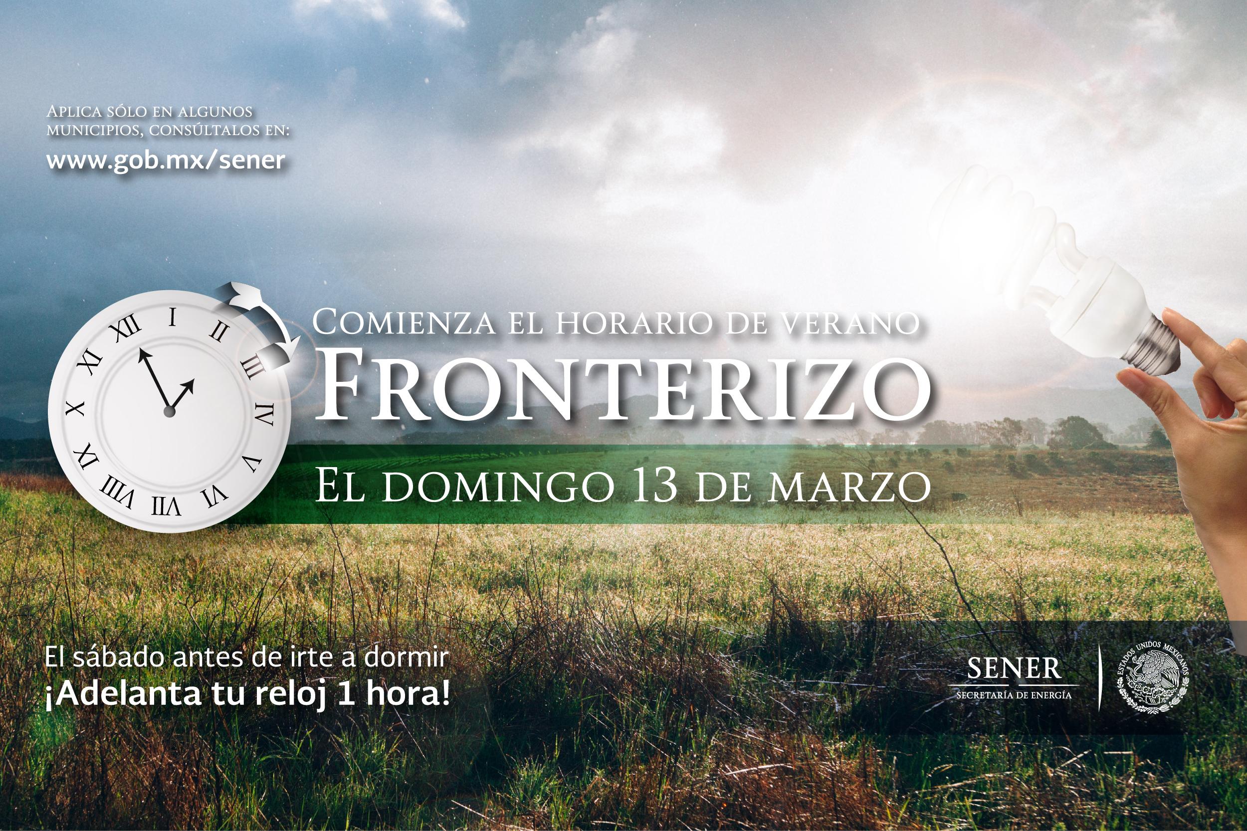 Iniciará el Horario de Verano 2016 en 33 municipios de la franja fronteriza norte del país