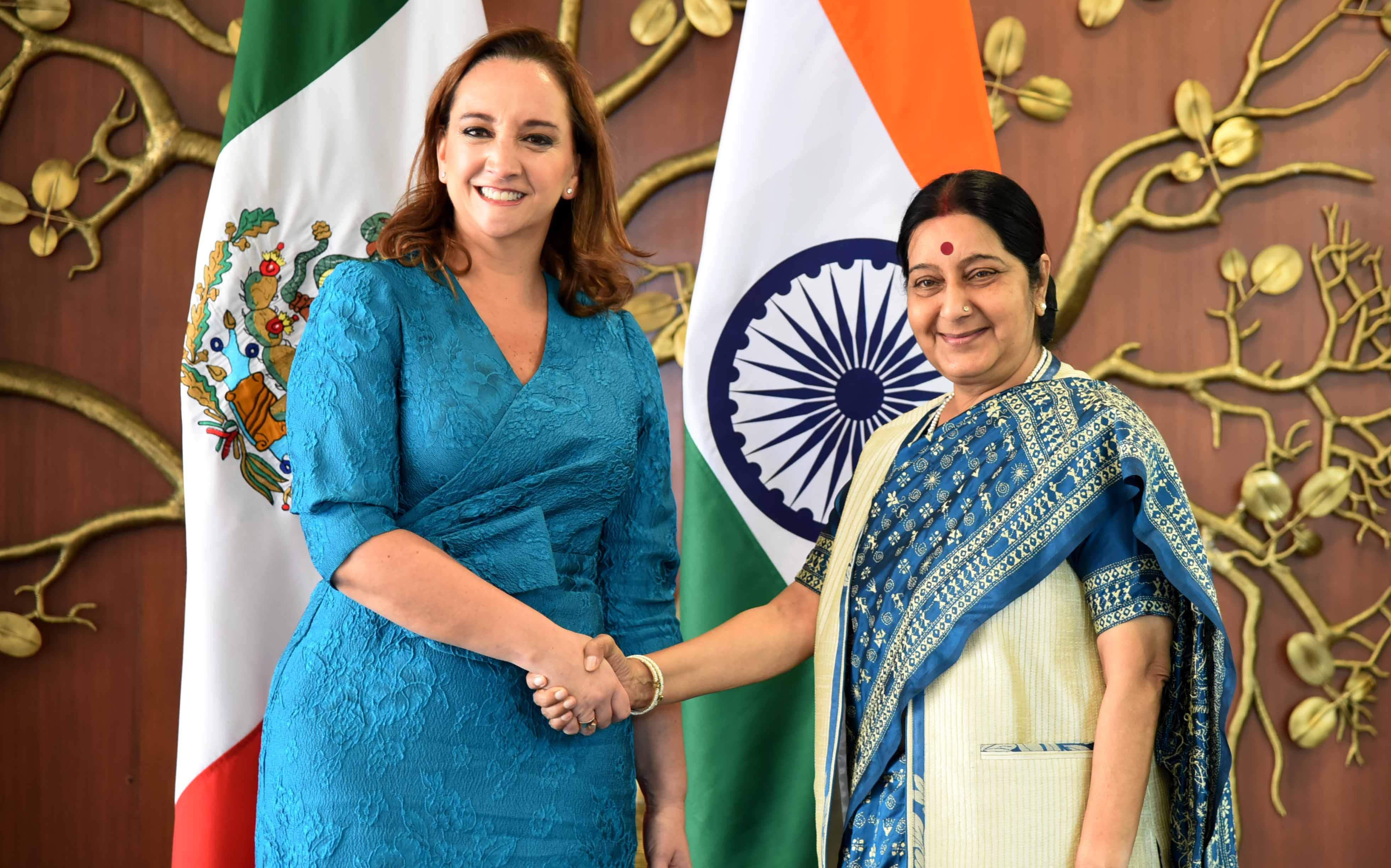 Reunión de la Canciller Claudia Ruiz Massieu con la Ministra de Relaciones Exteriores de India, Sushma Swaraj