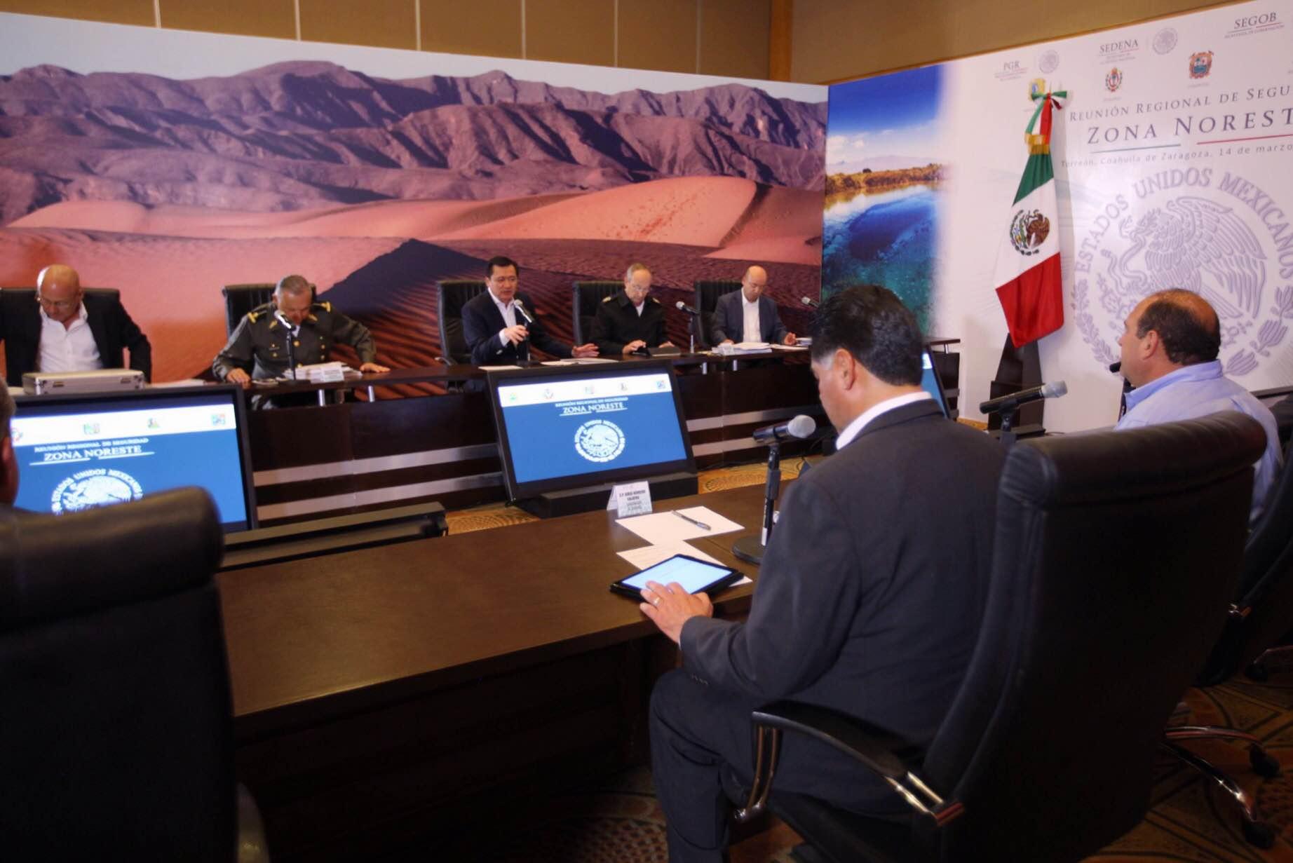 El Secretario de Gobernación, Miguel Ángel Osorio Chong, durante la Reunión de Seguridad Zona Noreste en Torreón, Coahuila.