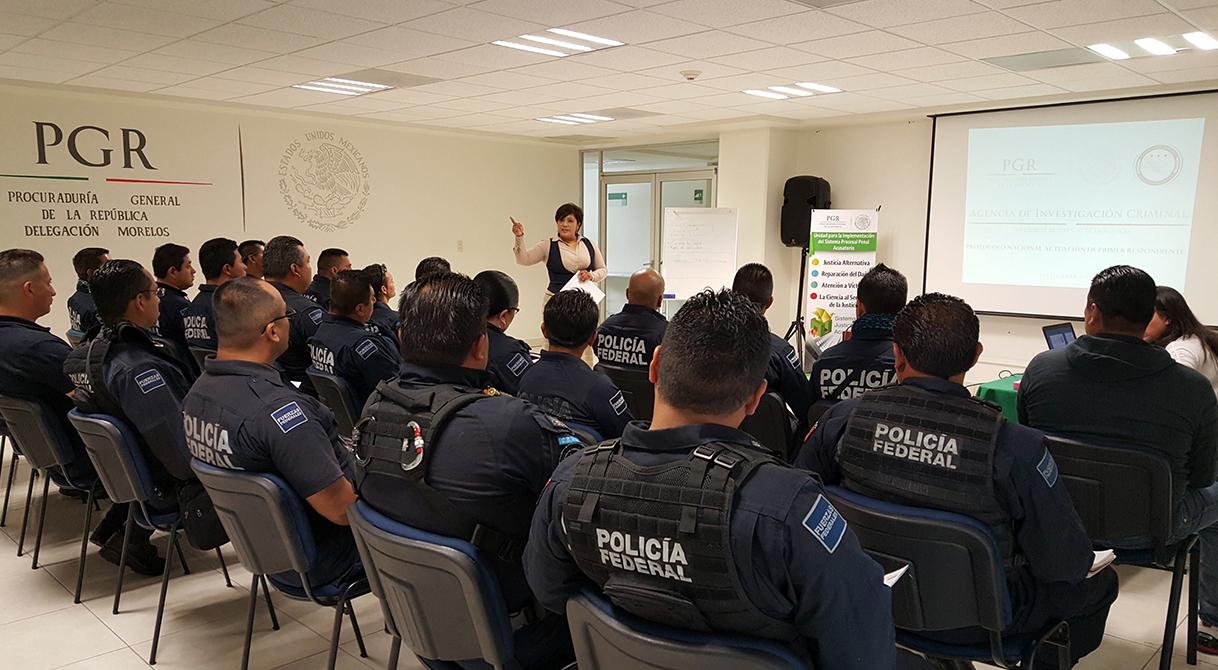 PGR imparte taller de cadena de custodia y primer respondiente a elementos de la Policía Federal en Morelos