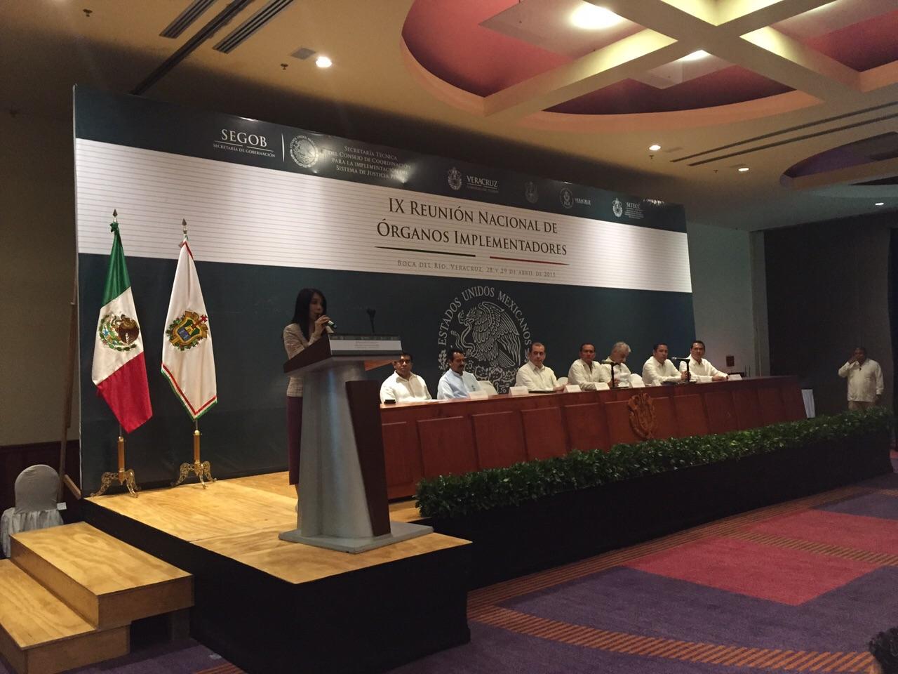 María de los Ángeles Fromow Rangel, titular de la Secretaría Técnica del Consejo de Coordinación para la Implementación del Sistema de Justicia Penal, durante la clausura de la IX Reunión de Órganos Implementadores en Boca del Río, Veracruz.