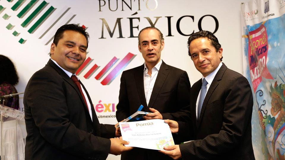 """SECTUR y Porrúa entregan premio a los ganadores del 2° Concurso de Cuento, """"Rincones Mágicos de México""""."""