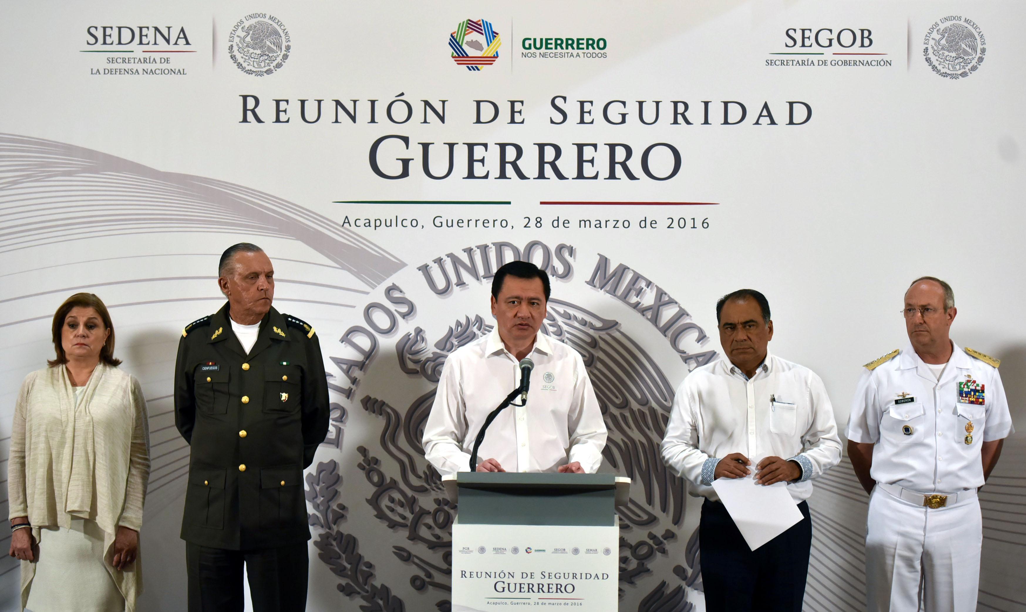 El Secretario de Gobernación, Miguel Ángel Osorio Chong, al término de la Reunión de Seguridad Guerrero, realizada en Acapulco