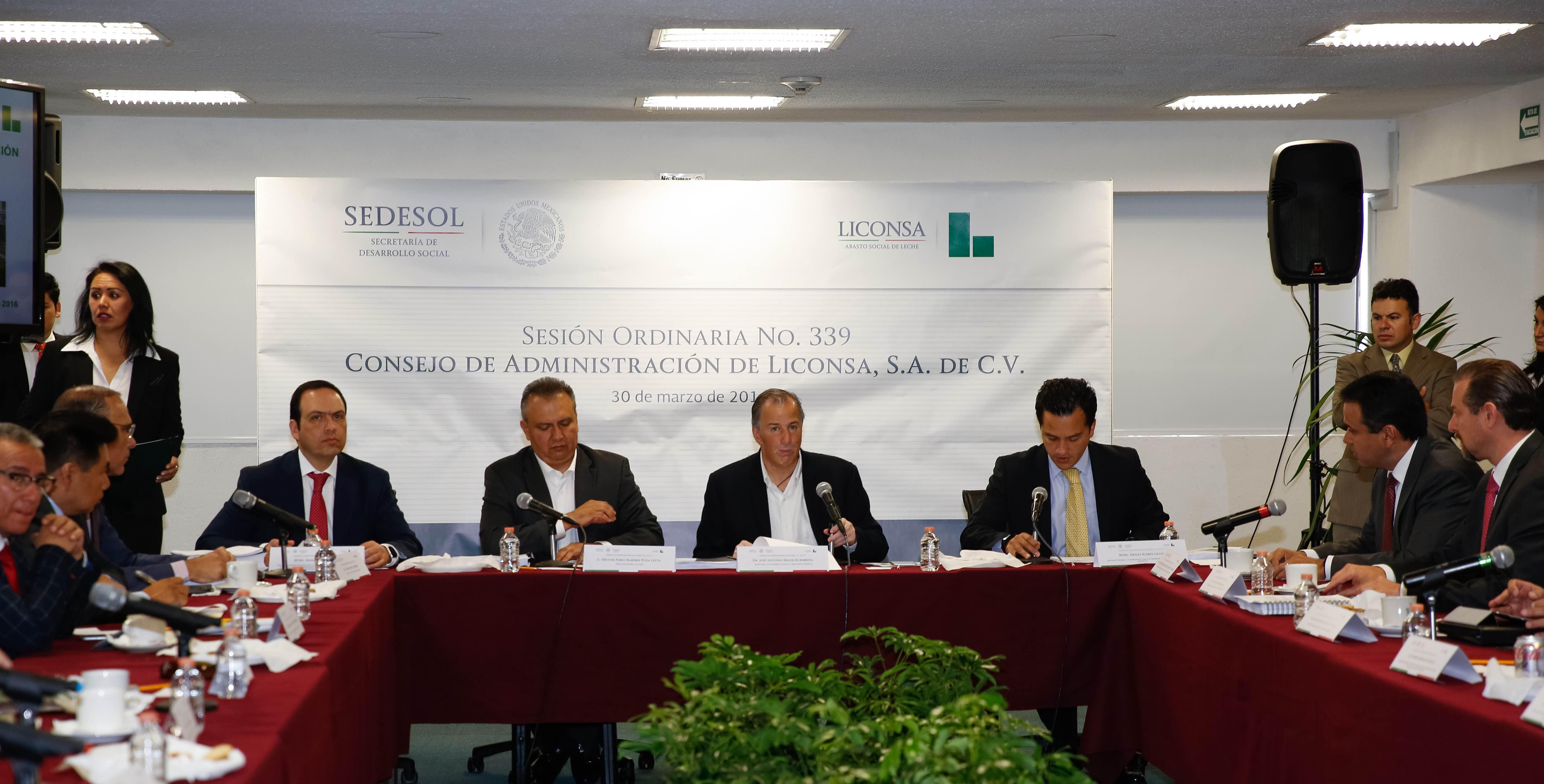 El secretario de Desarrollo Social presidió la Sesión Ordinaria del Consejo de Administración de Liconsa