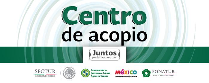Banner de los Centros de Acopio con el fin de recibir víveres para la población afectada en Baja California Sur tras el paso del huracán Odile.
