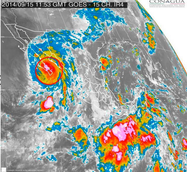 Geolocalización del huracán Odile.