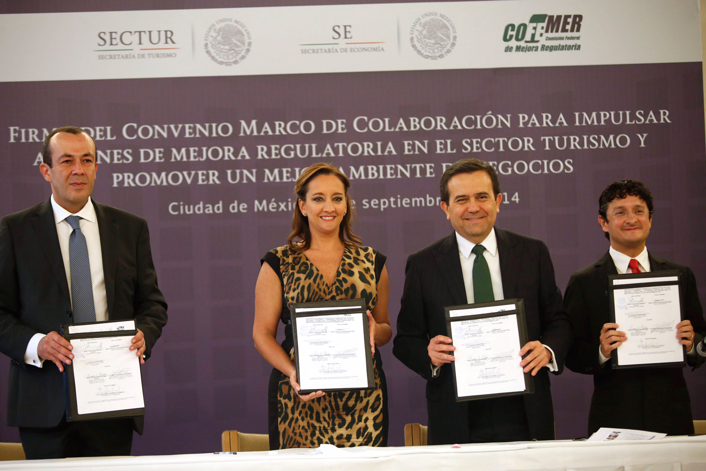 Firma del Convenio Marco de Colaboración para impulsar mejora regulatoria en el sector turismo y promover un mejor ambiente de Negocios.