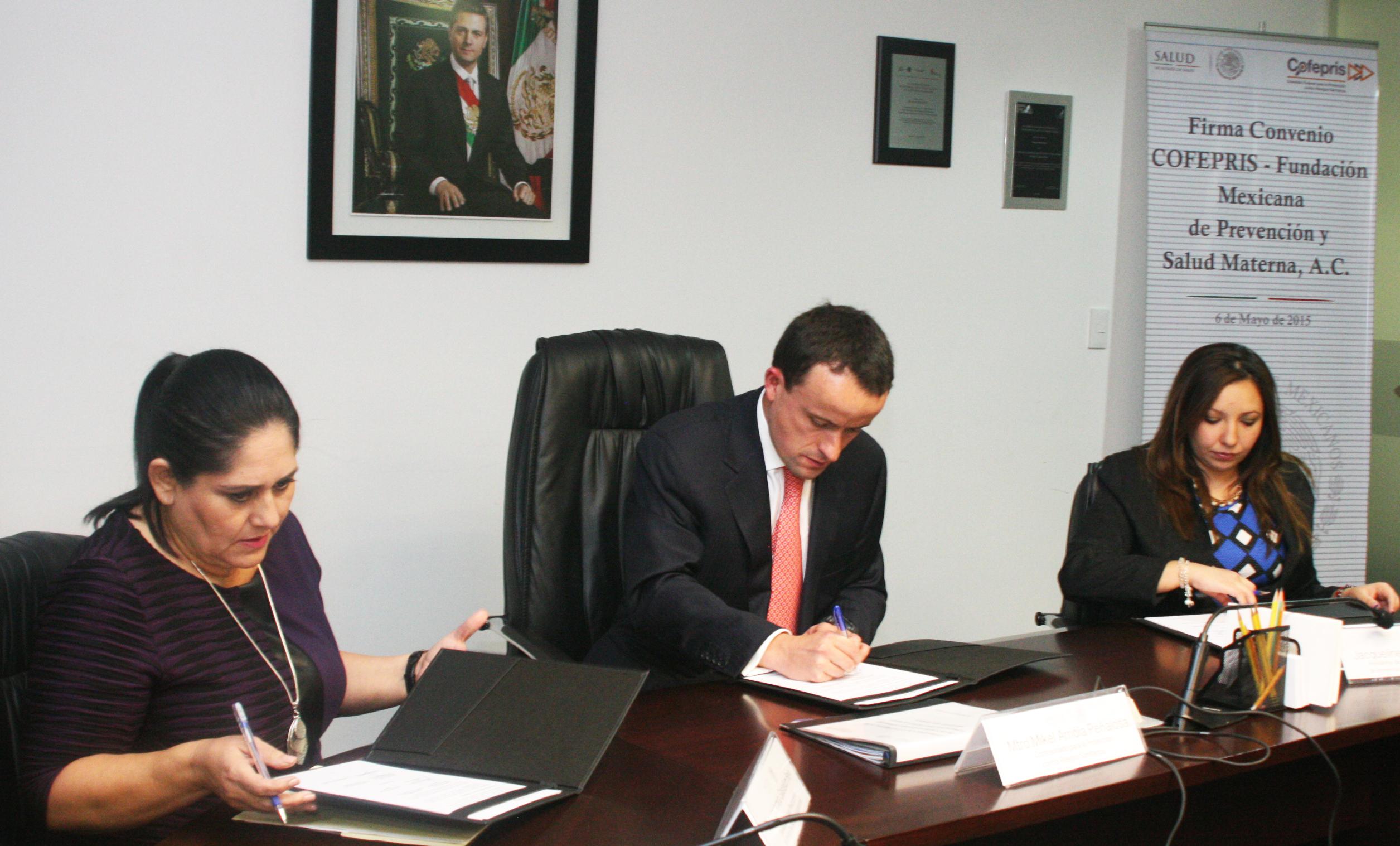 COFEPRIS y la Fundación Mexicana de Prevención y Salud Materna A.C firmaron un Convenio de Colaboración.