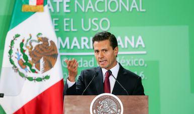 El Primer Mandatario da su discurso sobre las conclusiones del Debate Nacional sobre el Uso de la Marihuana.