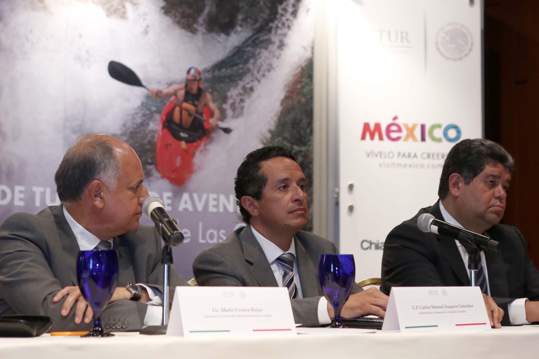 El Subsecretario Carlos Joaquín de la SECTUR en la presentación de la 3a edición de la Feria de Turismo de Aventura México-Chiapas 2014 Adventure Travel Mexico (ATMEX).