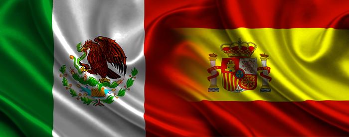 Banderas de México y España.