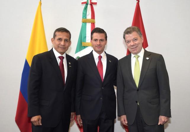 Reunión del Presiente EPN con los presidentes de Perú y Colombia en Panamá.