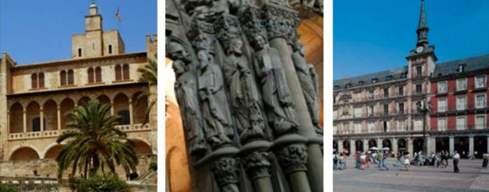 Tres sitios turísticos de España.