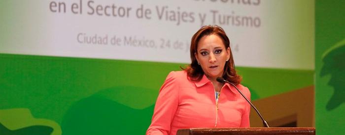 La Secretaria de Turismo, Claudia Ruiz Massieu en la presentación de la 5a Etapa del Programa Integral de Prevención a la Trata de Personas en el Sector de los Viajes y el Turismo.
