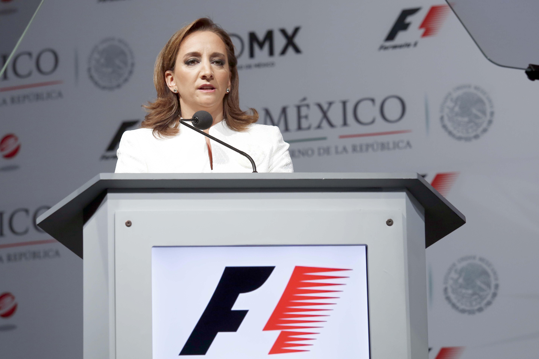 """La Secretaria de Turismo, Claudia Ruiz Massieu confirma que el """"Gran Premio de México"""" de Fórmula Uno está de vuelta."""