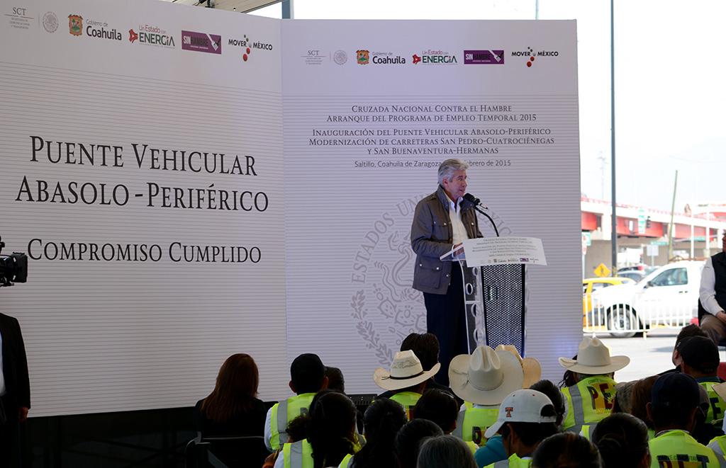 Cumple SCT con la entrega de tres compromisos presidenciales en Coahuila