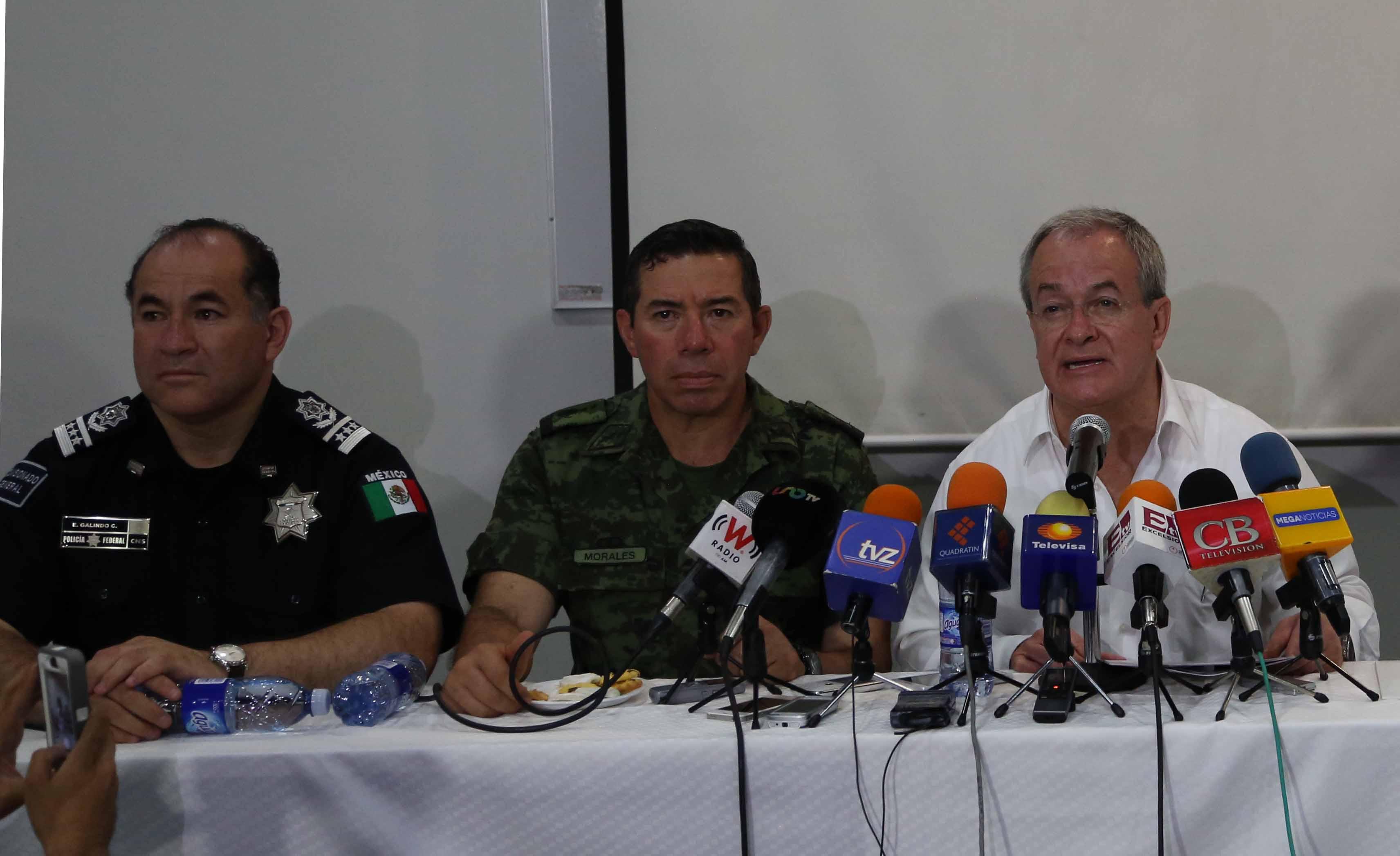 El Comisionado Nacional de Seguridad, Monte Alejandro Rubido García, ofrece mensaje a medios en Zamora, Michoacán
