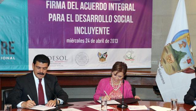 Se firma Acuerdo Integral para el Desarrollo Social Incluyente-Cruzada Nacional Contra el Hambre con el gobierno de Hidalgo.