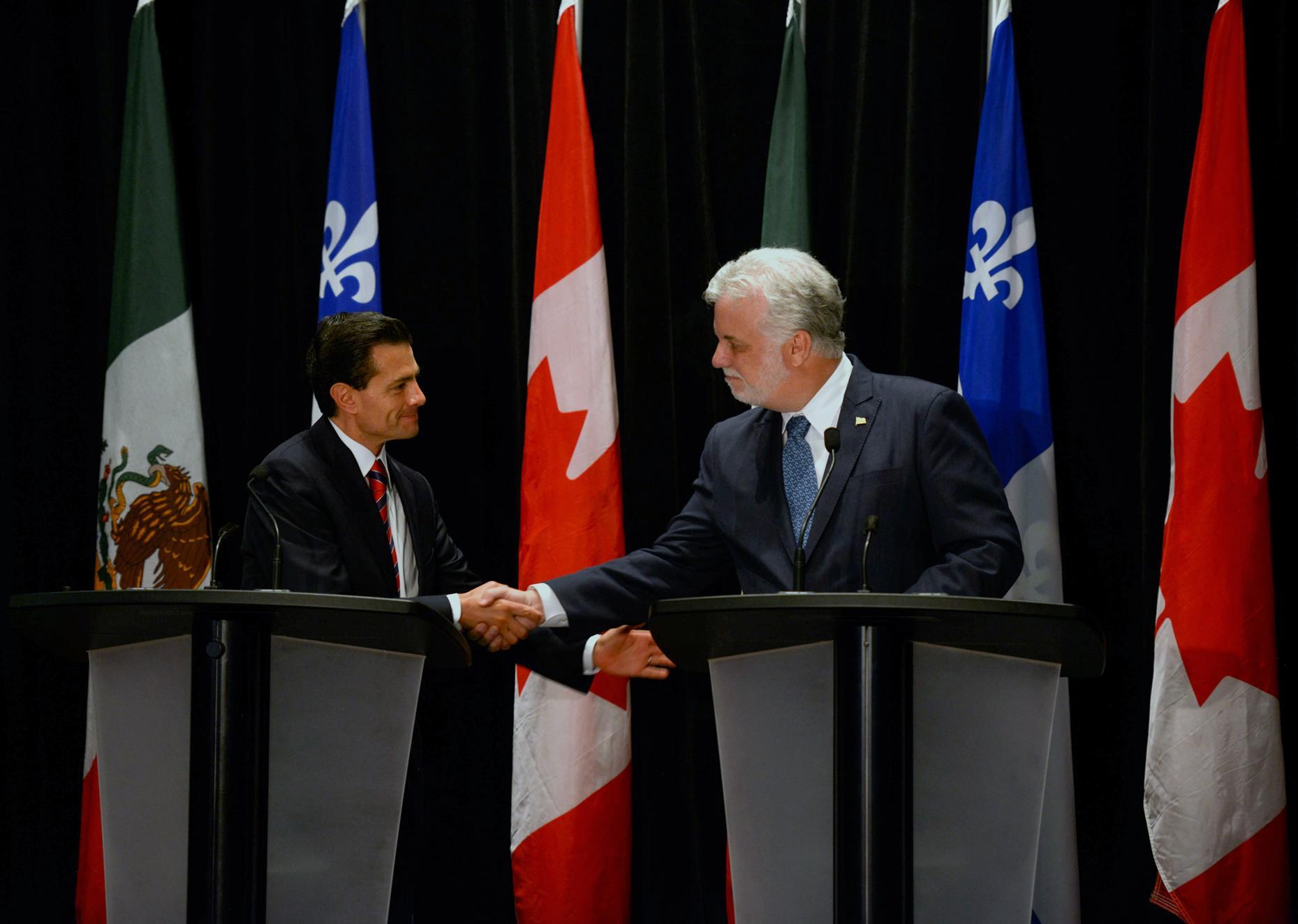 Se firmaron cinco acuerdos de cooperación en temas prioritarios como incrementar los intercambios de estudiantes universitarios y de investigadores a Quebec.