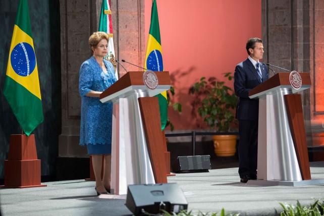 La Presidenta de Brasil, Dilma Rousseff, en su mensaje a medios de comunicación.
