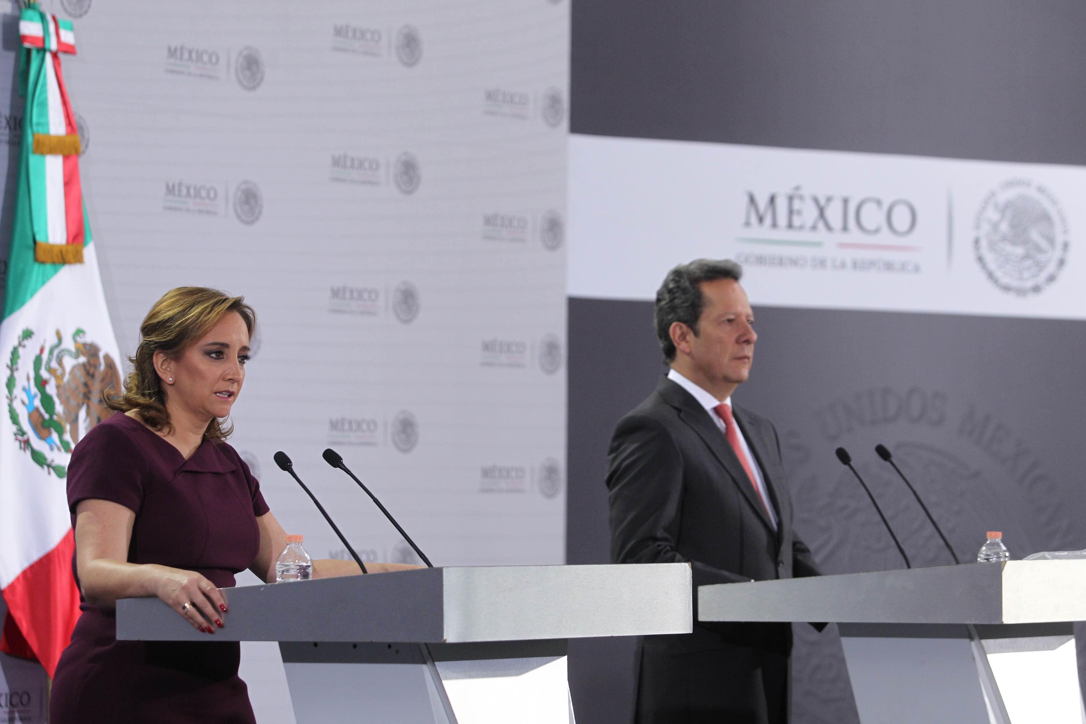 En conferencia de prensa la Canciller Claudia Ruiz Massieu y Eduardo Sánchez Vocero de la Presidencia