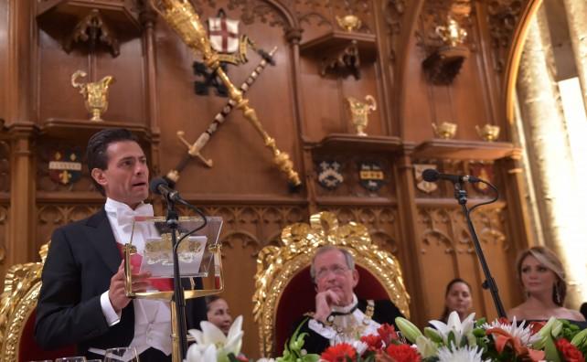 EPN en su discurso durante la Cena de Gala que ofrece el Lord Mayor y el Distrito Financiero de Londres.