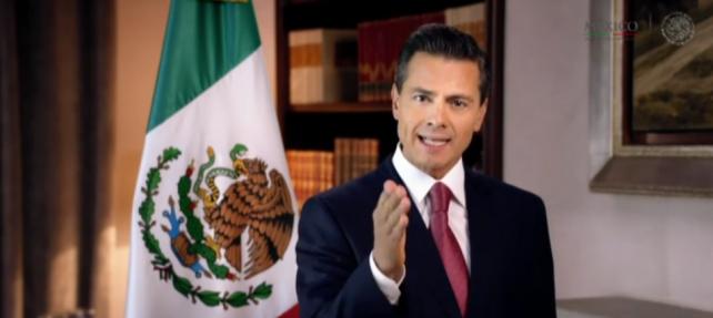 El Presidente Enrique Peña Nieto durante el mensaje a la nación por motivo de Año Nuevo 2015.