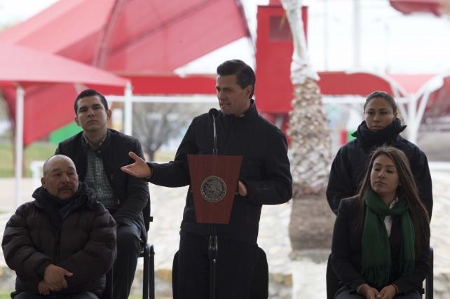 EPN en su discurso durante su primera visita como Presidente de la República a Ciudad Juárez.