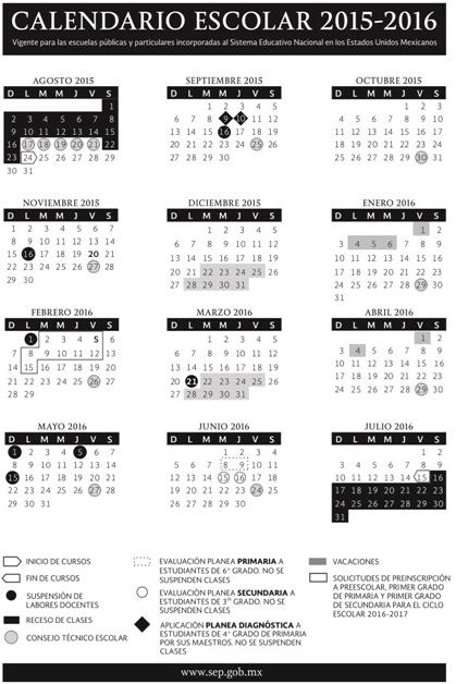 La Secretaría de Educación Pública da a conocer el Calendario Escolar para el ciclo lectivo 2015-2016
