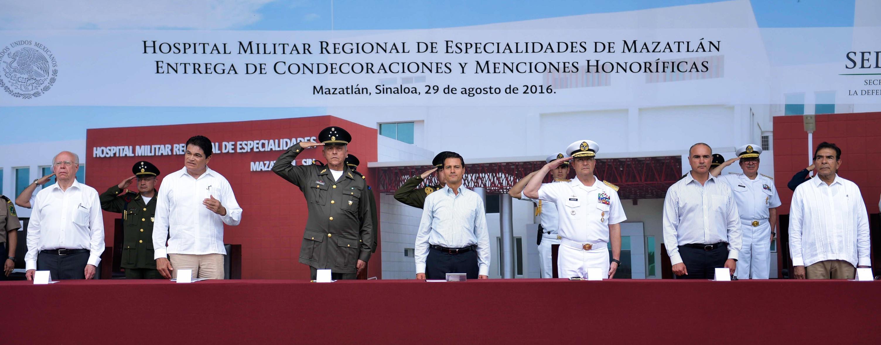 Hoy la infraestructura militar de salud incluye: 5 hospitales militares de especialidad, 4 hospitales regionales de especialidades, 31 hospitales regionales y de zona, y 10 unidades médicas de consulta externa.