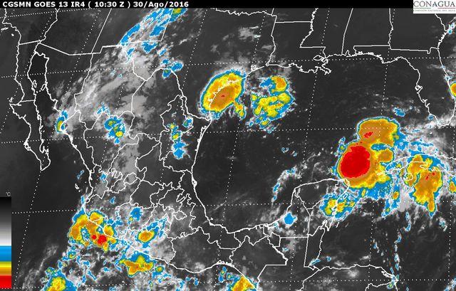 Se prevén tormentas de muy fuertes a intensas en la Península de Yucatán y el sur y el sureste de México.
