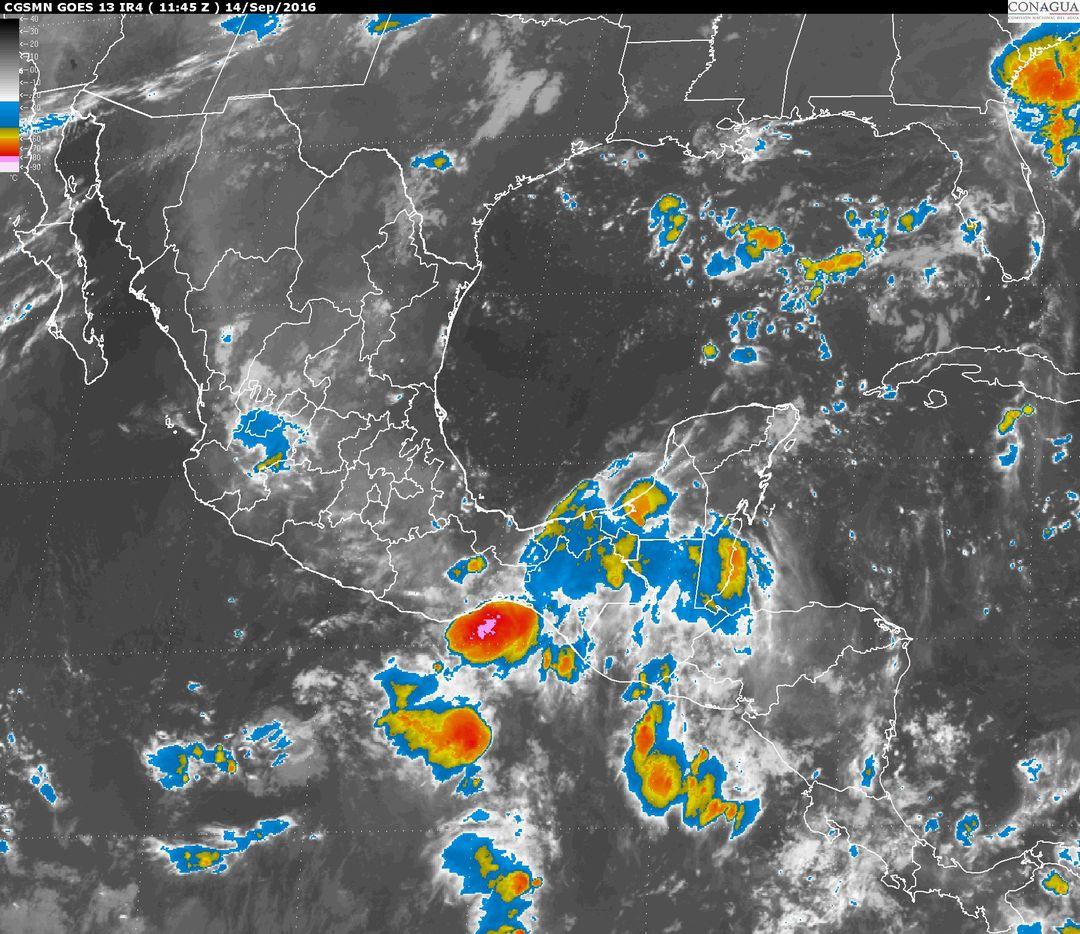 Tormentas intensas, se prevén hoy en regiones de Tabasco y Chiapas.