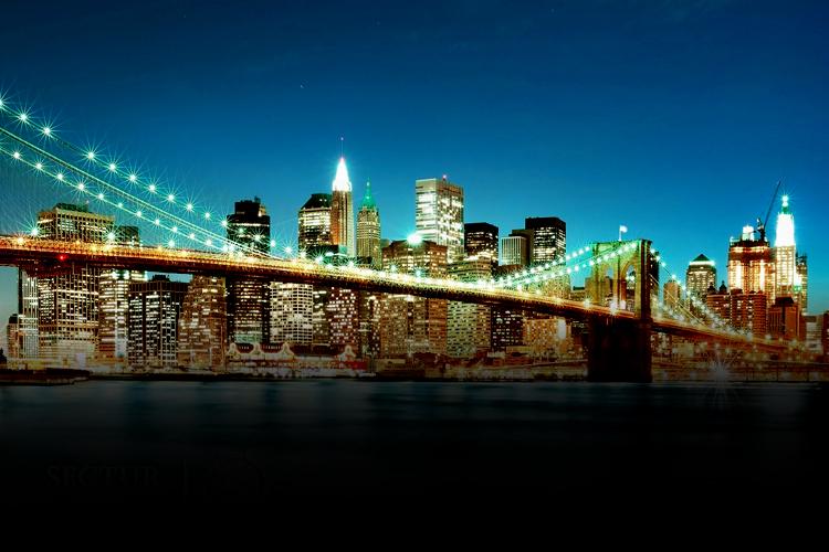 Una vista nocturna de la Ciudad de Nueva York.