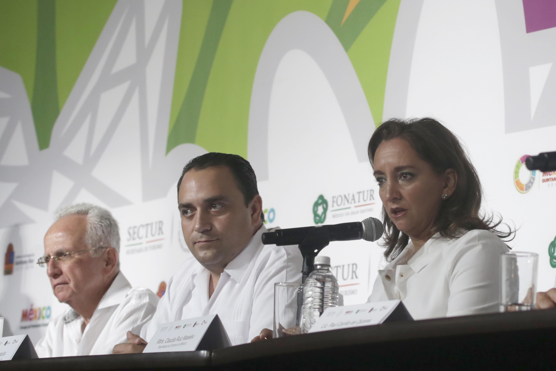 La Secretaria de Turismo del Gobierno de la República, Claudia Ruiz Massieu, en conferencia de prensa, informa las cifras alcanzadas en la Edición 39 del Tianguis Turístico.
