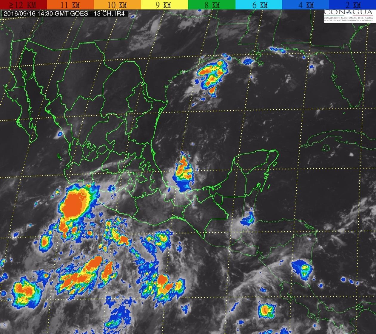 Continúa la probabilidad de tormentas intensas en Michoacán, Guerrero y Chiapas, para las siguientes horas.