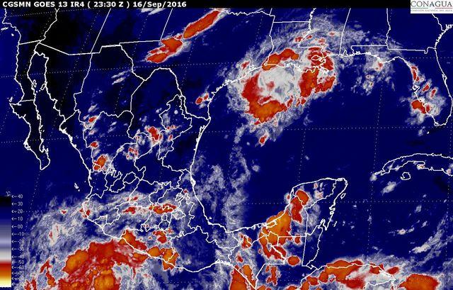 Tormentas intensas, se prevén en sitios de Jalisco, Colima, Michoacán y Guerrero, durante la noche.