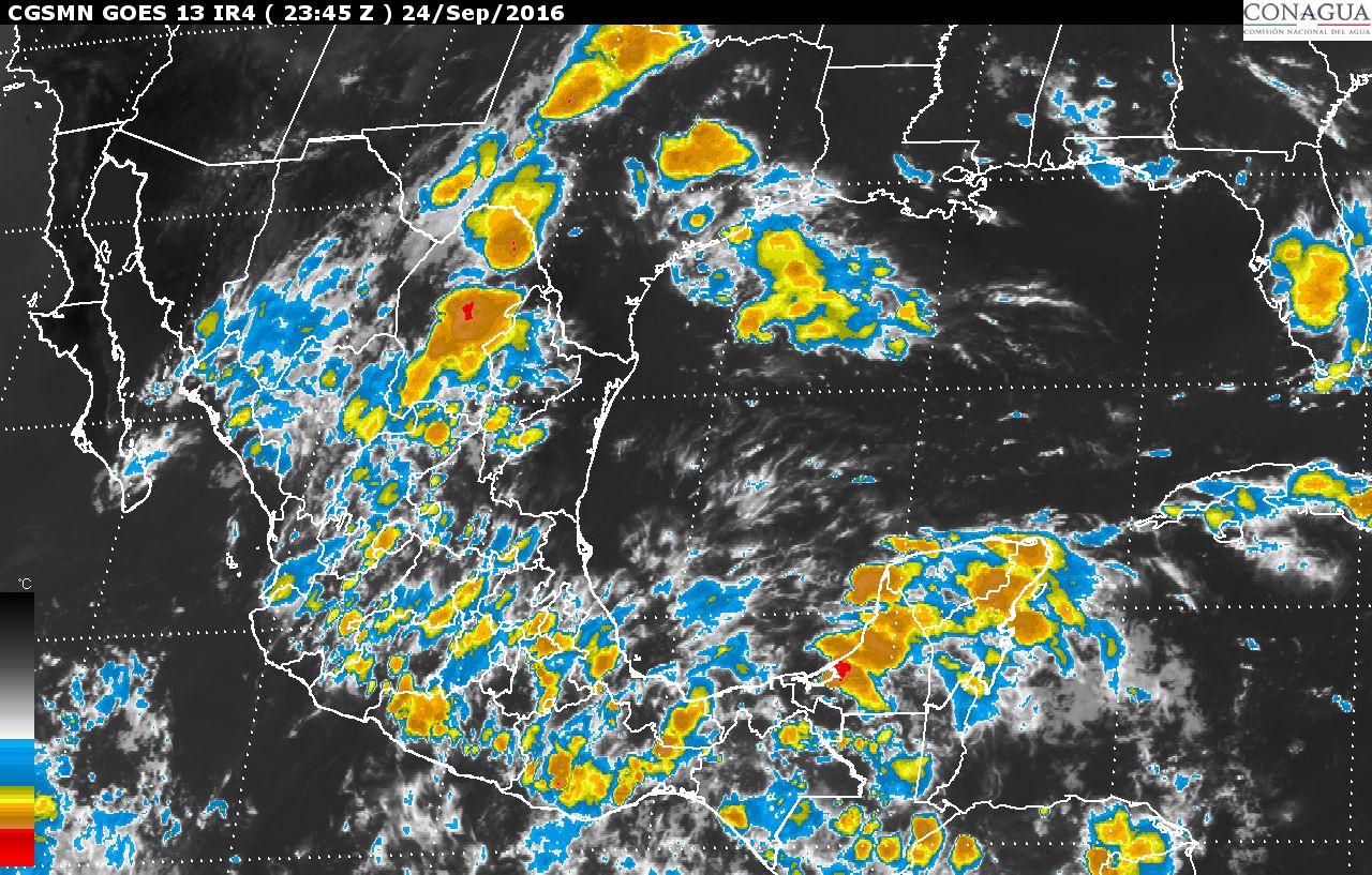 Se pronostican tormentas intensas en zonas de Guerrero, Oaxaca y Chiapas, durante las próximas horas.