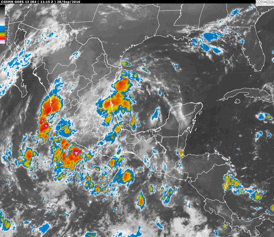En San Luis Potosí, Hidalgo, Puebla, Oaxaca y Veracruz, se prevén tormentas muy fuertes.