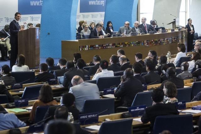 Anuncia el presidente Enrique Peña Nieto en la Conferencia de la FAO el reforzamiento de la iniciativa de cooperación con la FAO para erradicar el hambre en América Latina.