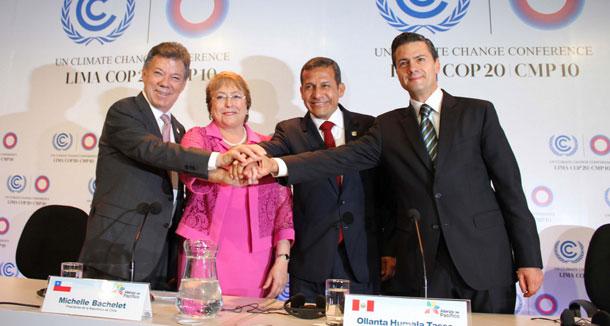 En la COP20, la Alianza del Pacífico firmó una declaración de apoyo a la ONU para enfrentar los retos del cambio climático