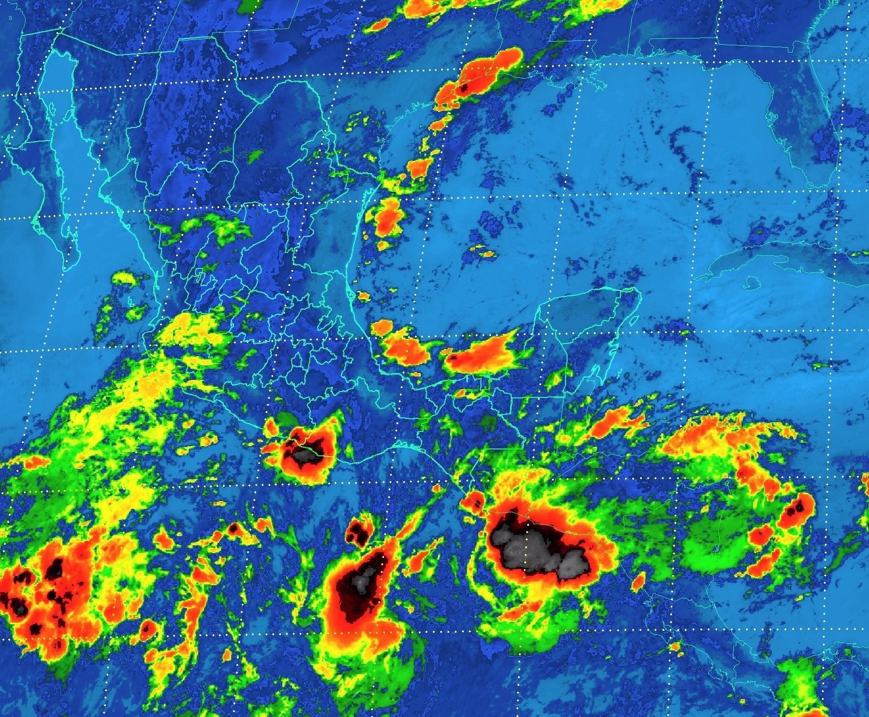 En regiones de Tamaulipas, San Luis Potosí, Hidalgo, Puebla, Veracruz y Chiapas, se prevén para hoy tormentas muy fuertes